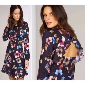 Anthropologie Ruffle Back Cutout Fit & Flare Dress